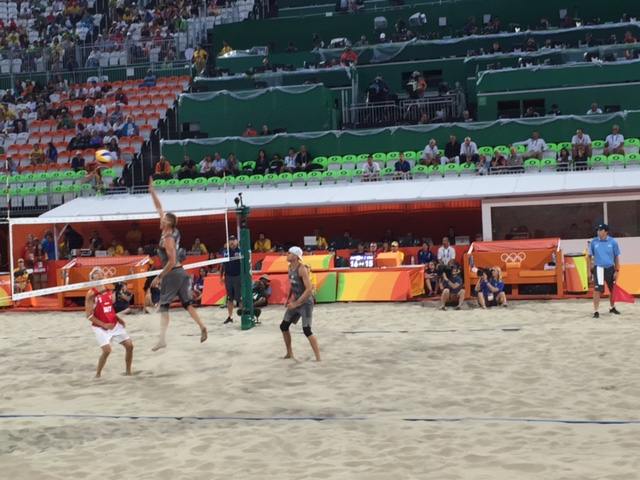 Olympic beach volleyball action