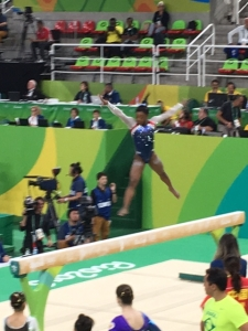 Simone on beam
