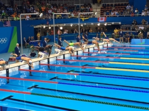 Olympic swimming action
